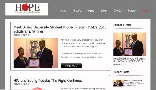 hope blog screenshot